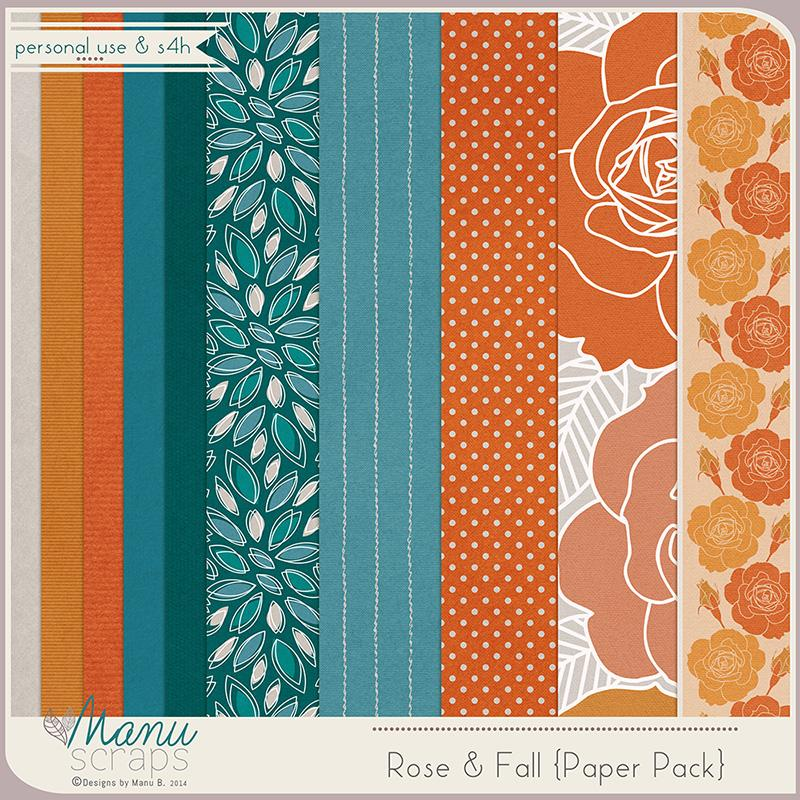 Rose & Fall Paper Pack by Manu Scraps