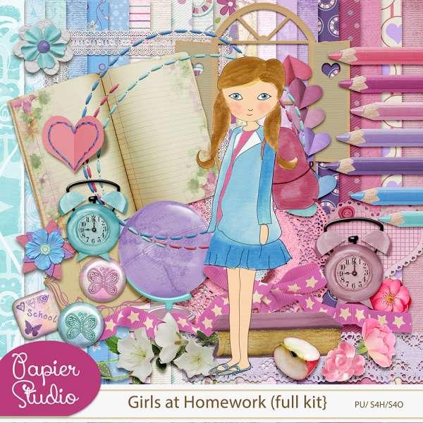 Girls at Homework {full kit + alpha} by PapierStudio Silke